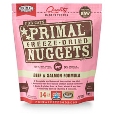 Primal Feline Raw Freeze Dried beef Salmon Nuggets