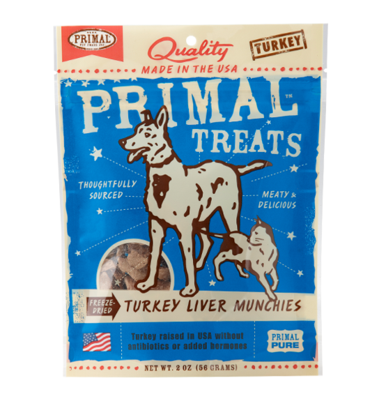 PRIMAL - Freeze Dried Turkey Liver Munchies Dog/Cat Treats 2oz