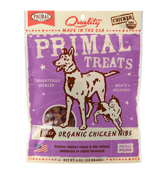 Primal - Jerky Organic Chicken NIBS cats & dogs Treats 4oz