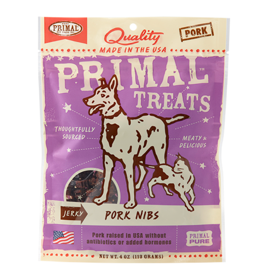 Primal Jerky Pork nibs for cats & dogs 4oz
