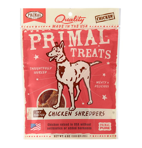 Primal Dry Roasted Chicken Shredders dog treats 4oz