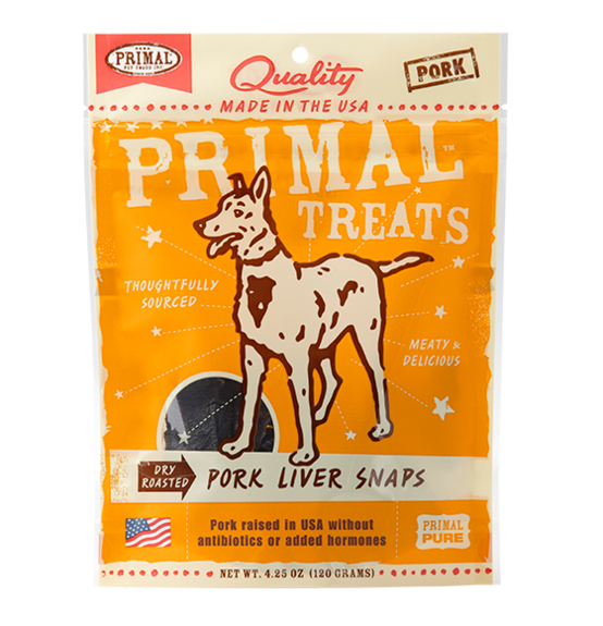 Primal Dry Roasted Pork Liver Snaps for dogs 4.25oz