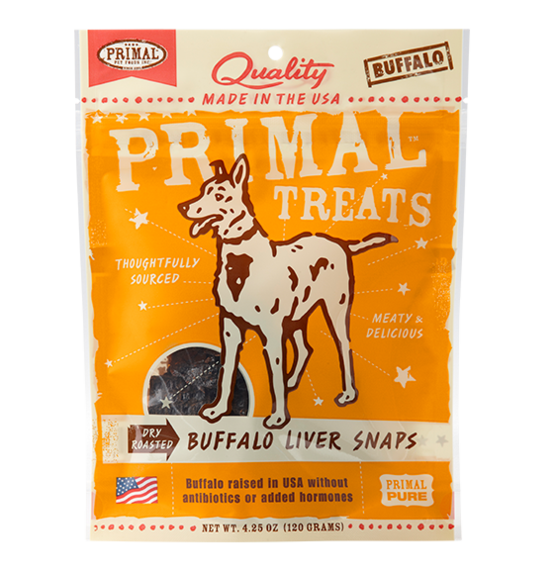 PRIMAL - Dry Roasted Buffalo Liver Snaps Dog Treats 4.25oz