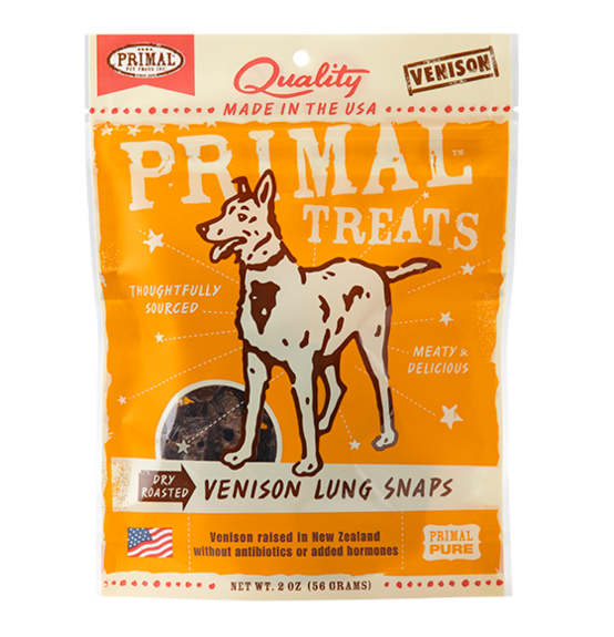 PRIMAL - Dry Roasted Vension Lung Snaps Dog Treats 2oz