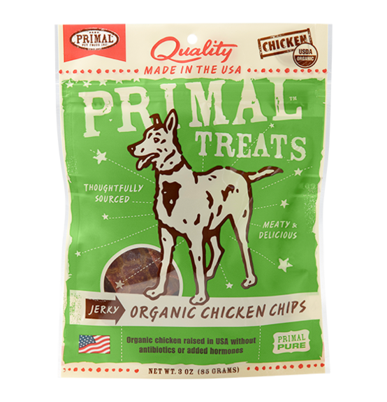 PRIMAL - Jerky Organic Chicken Chips Dog Treats 3oz