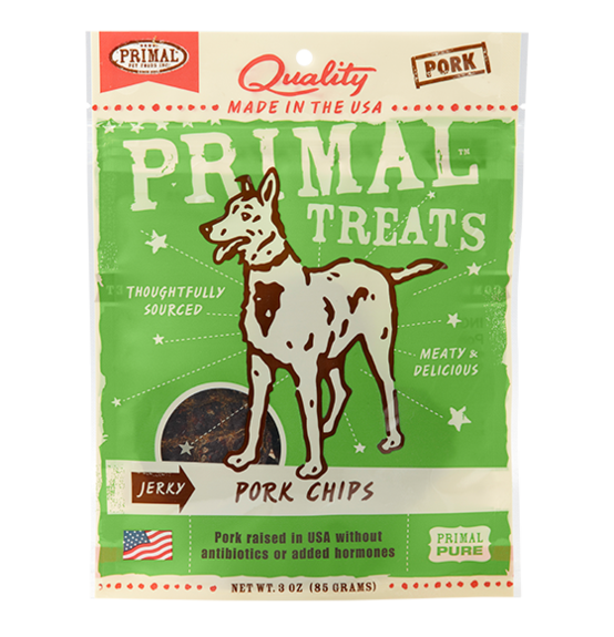 Primal Jerky Pork Chips for dogs 3oz